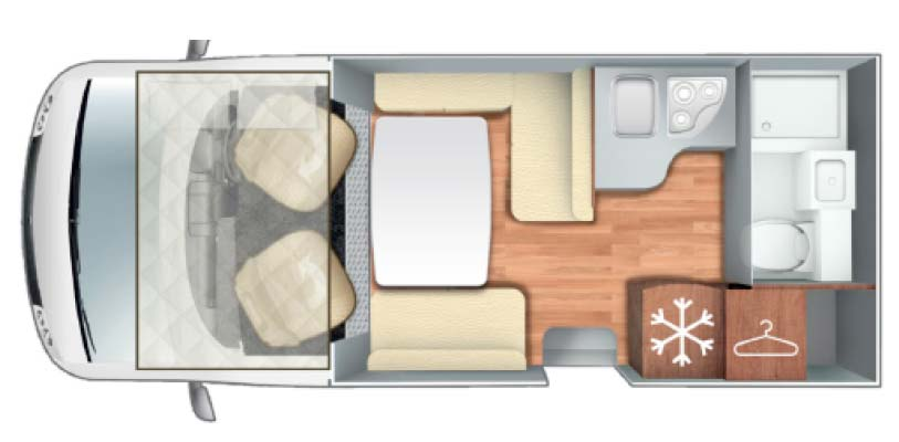 Pegaso 590 Motorhome Layout and Floorplan