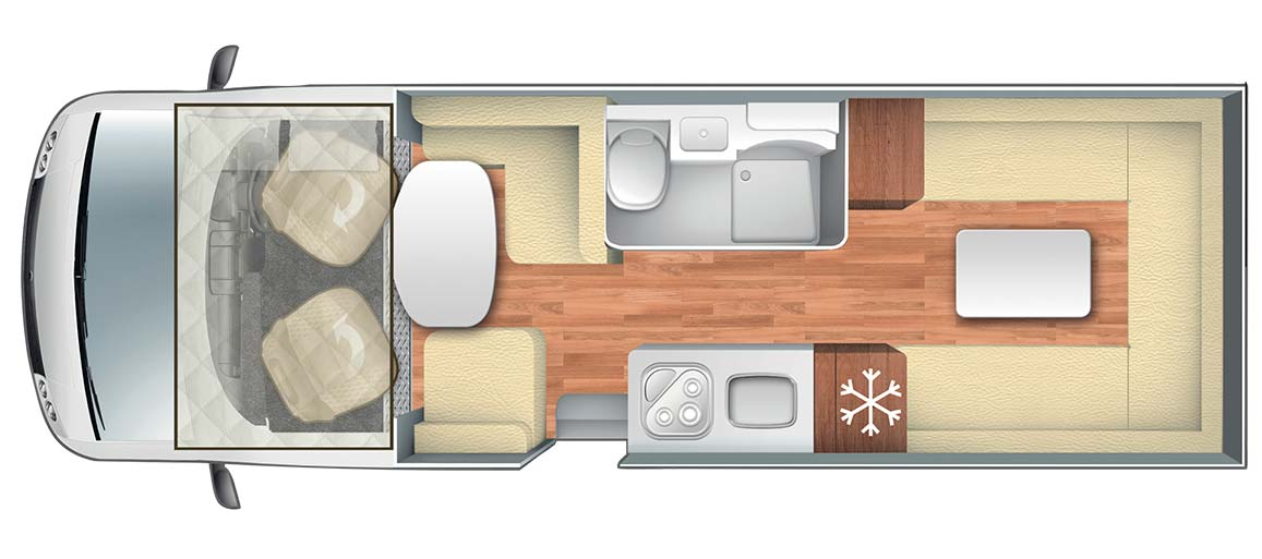 Pegaso 745 Motorhome Floorplan and Layout